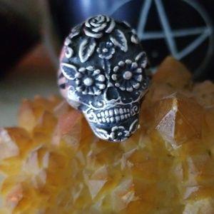 Sterling sugar skull ring